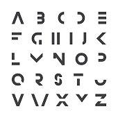 Simple modern font. Vector minimalistic english alphabet. Futuristic latin letters.