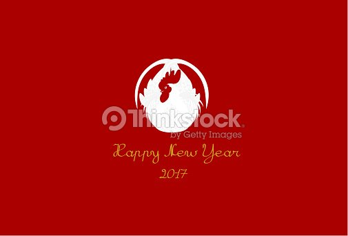 simple new years card of rooster vector art