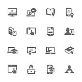 Simple Set of Online Education Related Vector Icons. Contains such icons as online lecture, diploma, communication and more.