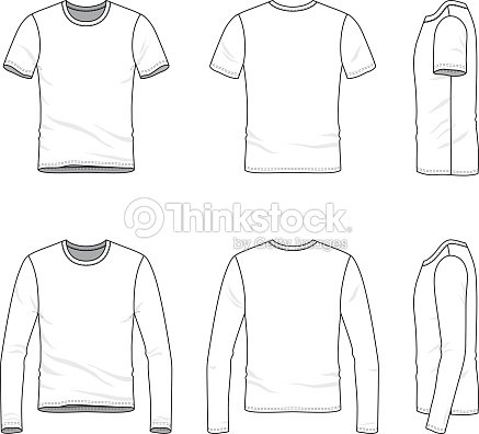 simple outline drawing of a mens blank t shirt and tee vector art