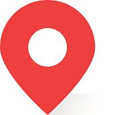 simple red map pin with shadow. concept of global coordinate dot, needle tip, positioning pictogram, user interface element label, ui. flat style trend modern brand graphic design on white background
