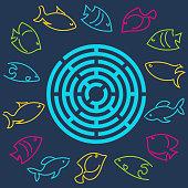 A simple round maze. Marine theme, vector.