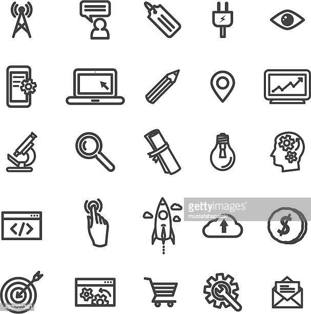 Einfache SEO und Entwicklung-Symbole