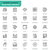Simple Set Banking and Finance Line Icons for Website and Mobile Apps. Contains such Icons as Balance, E-Banking, Auction, Financial Growth. 48x48. Editable Stroke. Vector illustration.