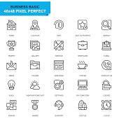 Simple Set Basic Line Icons for Website and Mobile Apps. Contains such Icons as Location, Briefcase, Lamp, Support, Business, Award. 48x48. Editable Stroke. Vector illustration.