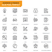 Simple Set Business and Finance Line Icons for Website and Mobile Apps. Contains such Icons as Analysis, Money, Accounting, Strategy, Bank. 48x48. Editable Stroke. Vector illustration.