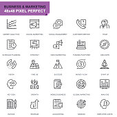 Simple Set Business and Marketing Line Icons for Website and Mobile Apps. Contains such Icons as Vision, Mission, Planning, Market. 48x48. Editable Stroke. Vector illustration.