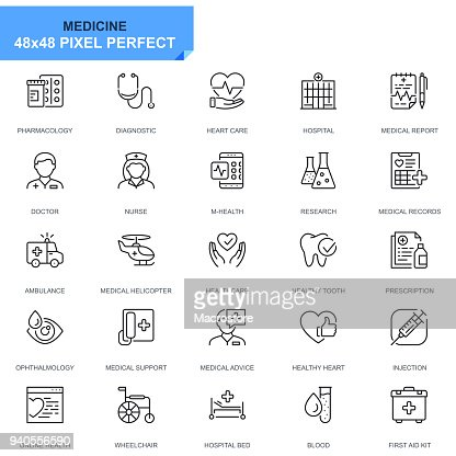 Simple Set Healthcare and Medical Line Icons : Vector Art