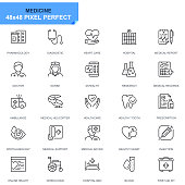 Simple Set Healthcare and Medical Line Icons for Website and Mobile Apps. Contains such Icons as Ambulance, First Aid, Research, Hospital. 48x48. Editable Stroke. Vector illustration.
