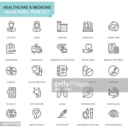 Simple Set soins de santé et de médecine ligne icônes : clipart vectoriel