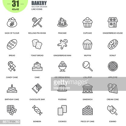 Simple set of bakery related vector line icons : stock vector