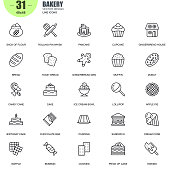 Simple Set of Bakery Related Vector Line Icons. Contains such Icons as Pancake, Ice Cream Bowl, Pudding, Candy Cane, Muffin, Donut and more. Editable Stroke. 48x48 Pixel Perfect.
