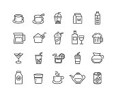 Simple Set of Beverage vector thin line icons, Editable Stroke linear symbols.