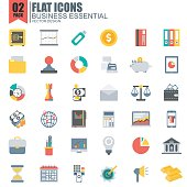 Simple set of business essential flat icons vector design. Contains such as business symbol, investment bag, diagram and more. Pixel Perfect. Can be used for websites, infographics, mobile apps.