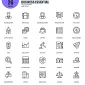 Simple Set of Business Essential Related Vector Line Icons. Contains such Icons as Businessman, Coins, Office, Line Chart, Scales, Brainstorming and more. Editable Stroke. 48x48 Pixel Perfect.