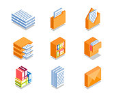 Simple Set of Business Icons in flat isometric 3D style. Contains such Icons as Folder with documents, Securities, Envelope and more.
