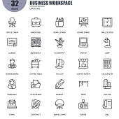 Simple Set of Business Workspace Related Vector Line Icons. Contains such Icons as Office Chair, Bookshelf, Laptop, Businessman, Board Stand and more. Editable Stroke. 48x48 Pixel Perfect.