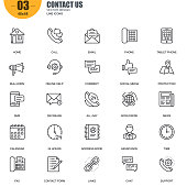 Simple Set of Contact Us Related Vector Line Icons. Contains such Icons as Phone, Tablet, Bullhorn, Address Book, Contact Form, Calendar and more. Editable Stroke. 48x48 Pixel Perfect.