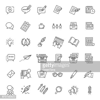 Simple Set of Copywriting Related Vector Line Icons : Arte vettoriale