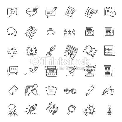 Simple juego de redacción relacionados con los iconos de línea Vector : arte vectorial
