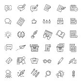 Vector Illustration Set Of simple Blogging and Copywriting icons