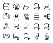 Simple set of database related outline icons. Elements for mobile concept and web apps. Thin line vector icons for website design and development, app development. Premium pack.