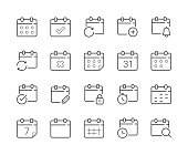 Simple Set of Date and Calendar Line Icon. Editable Stroke
