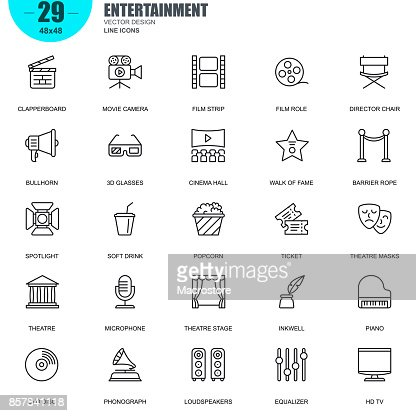 Simple set of entertainment related vector line icons : Vector Art