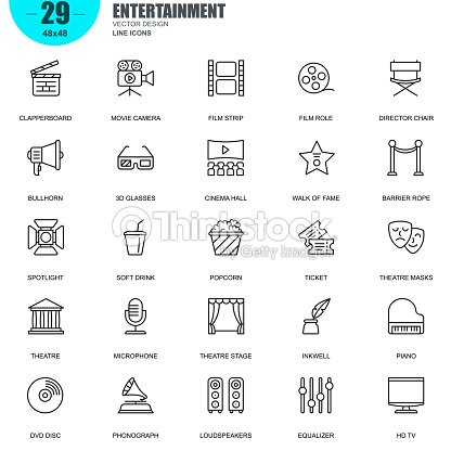 Simple set of entertainment related vector line icons : stock vector