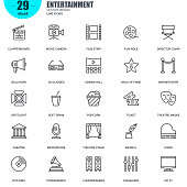 Simple Set of Entertainment Related Vector Line Icons. Contains such Icons as Clapperboard, Film Strip, Barrier Rope, Theatre, 3d Glasses and more. Editable Stroke. 48x48 Pixel Perfect.