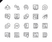 Simple Set of Feedback Related Vector Line Icons. Linear Pictogram Pack. Editable Stroke. 48x48 Pixel Perfect Icons.