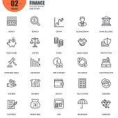 Simple Set of Finance Related Vector Line Icons. Contains such Icons as Wallet, ATM, Hand with a Coin, Bank Building, Diagram, Graph, Exchange and more. Editable Stroke. 48x48 Pixel Perfect.