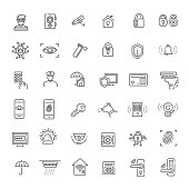 Home Security icons set. Vector line set
