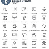 Simple Set of Household Appliances Related Vector Line Icons. Contains such Icons as Extractor Hood, Air Conditioning, Multi Blender, Microwave Oven and more. Editable Stroke. 48x48 Pixel Perfect.