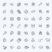 Line Set of flat icons about meat