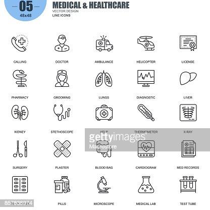 Simple jeu d'icônes de ligne vecteur médicaux et sanitaires : Clipart vectoriel