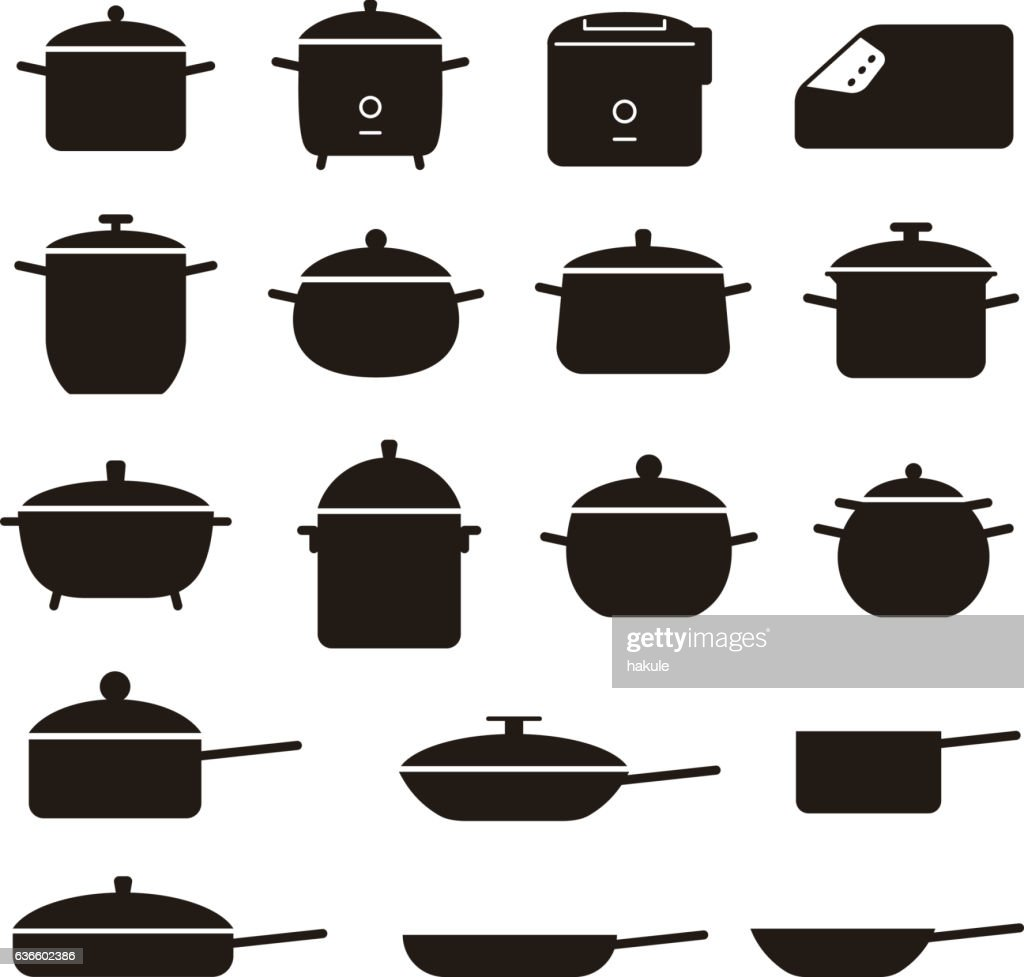Simple Set Of Pans And Pots Related Vector Black Icons Vector Art ...