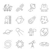 Simple Set of Space Related Vector Line Icons. Contains such Icons as Observatory, Planet Earth, Asteroid, Astronaft, Saturn, Moon, Moon Rover, Solar system and more. Editable Stroke. EPS 10