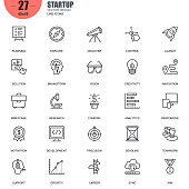 Simple Set of Startup Related Vector Line Icons. Contains such Icons as Planning, Navigation, Analytics, Funding, Teamwork, Research Market and more. Editable Stroke. 48x48 Pixel Perfect.