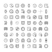 Simple set of time related outline icons. Elements for mobile concept and web apps. Thin line vector icons for website design and development, app development. Premium pack.