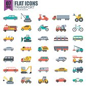 Simple set of transport flat icons vector design. Contains such as taxi, train, tram, bus, car, tractor, crane and more. Pixel Perfect. Can be used for websites, infographics, mobile apps.