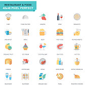 Simple Set Restaurant and Food Flat Icons for Website and Mobile Apps. Contains such Icons as Fast Food, Menu, Organic Fruit, Coffee Bar. 48x48. Editable Stroke. Vector illustration.