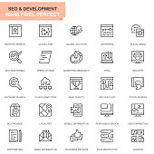 Simple Set Seo and Development Line Icons for Website and Mobile Apps. Contains such Icons as Clean Code, Data Protection, Monitoring. 48x48. Editable Stroke. Vector illustration.