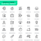 Simple Set Sport and Fitness Line Icons for Website and Mobile Apps. Contains such Icons as Fit Body, Swimming, Fitness App, Supplements. 48x48. Editable Stroke. Vector illustration.