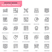 Simple Set Web and Graphic Design Line Icons for Website and Mobile Apps. Contains such Icons as Studio, Tools, App Development, Retouching. 48x48. Editable Stroke. Vector illustration.