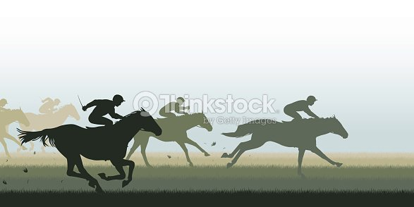 Simple Silhouette Horse Race Graphic Vector Art