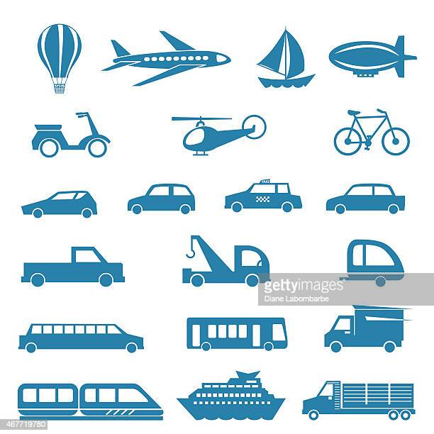 Simple Silhouette Modes Of Transportation Icon Set