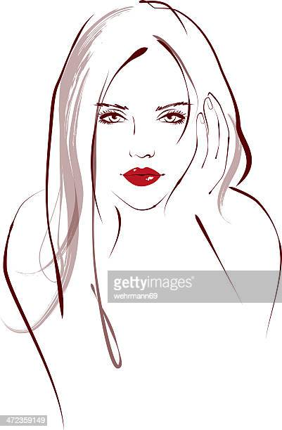 Simple sketch of woman with red lipstick