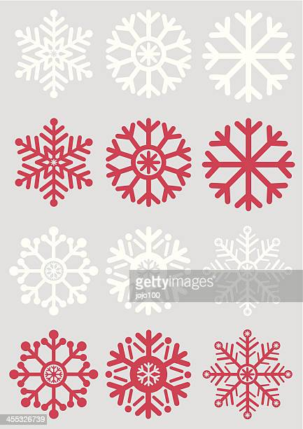 Simple Snowflakes on a Silver Background
