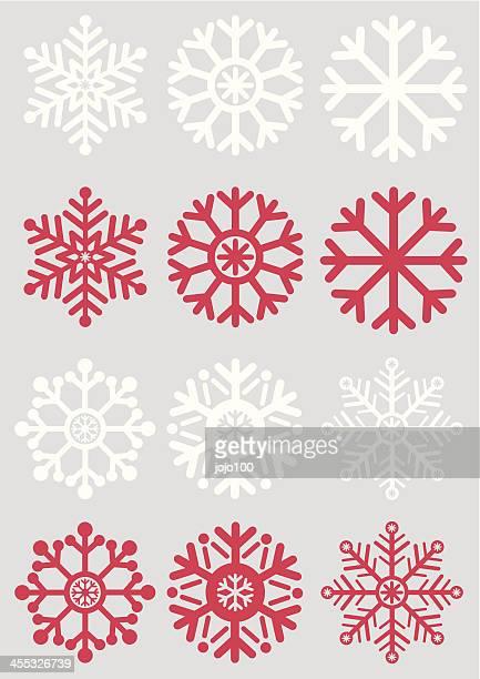 Simple Schneeflocken auf silbernem Hintergrund